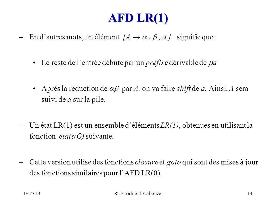 AFD LR(1) En d'autres mots, un élément [A ® a . b , a ] signifie que :